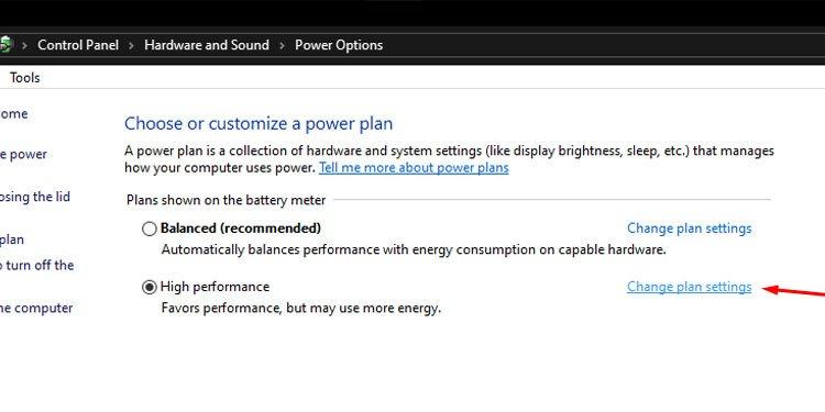 Change plan settings in Windows