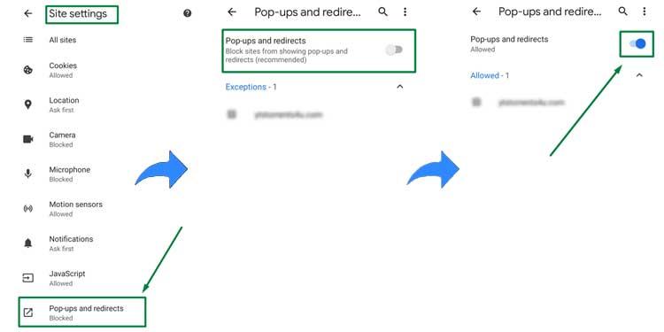 Chrome Android PoP Blocker Disable