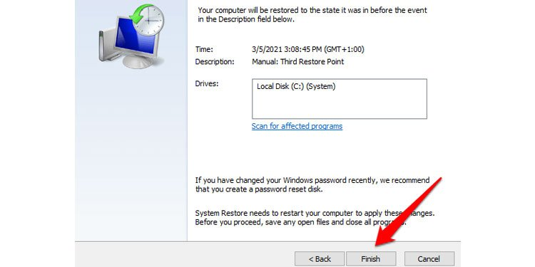 Confirm your restore point in Windows