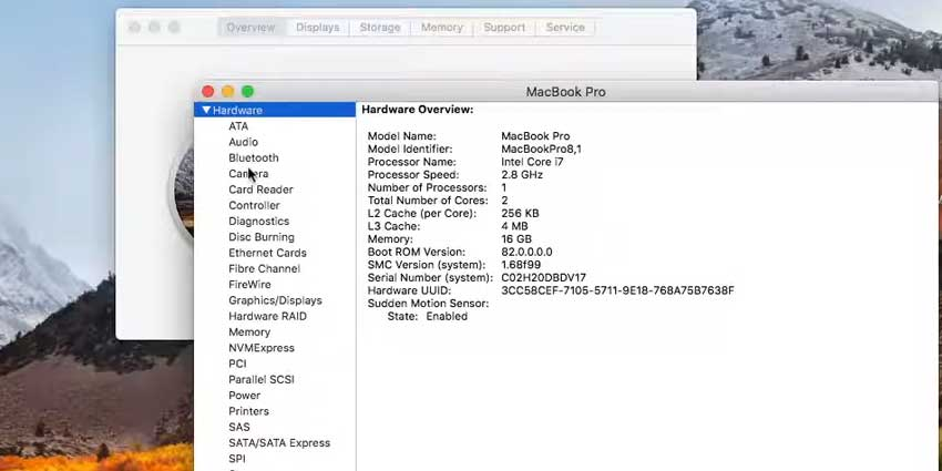 Detailed system info MAC