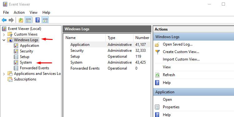 Event View Windows Log System