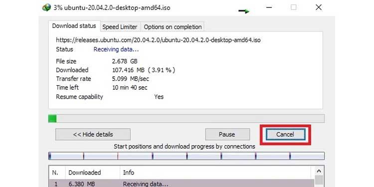 Internet Download Manager IDM Download Cancellation