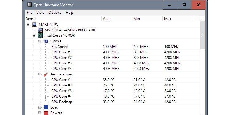 Monitor GPU and CPU temperature