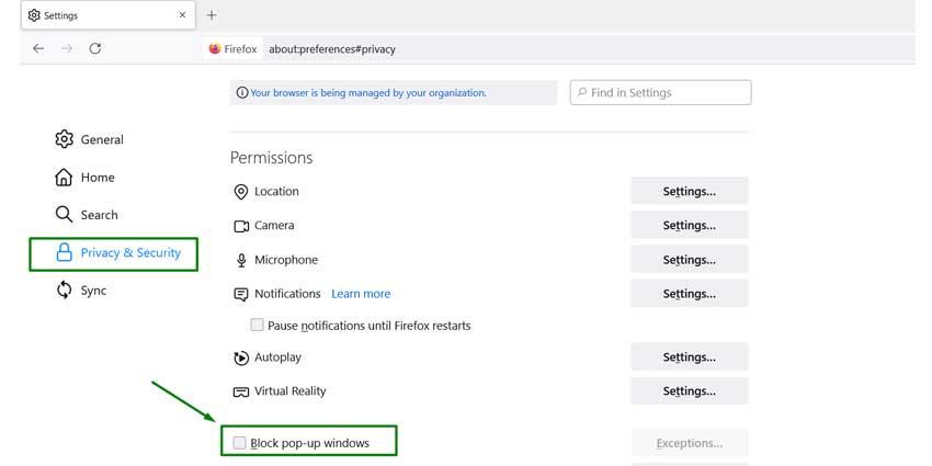 Mozilla Firefox PoP Up Settings