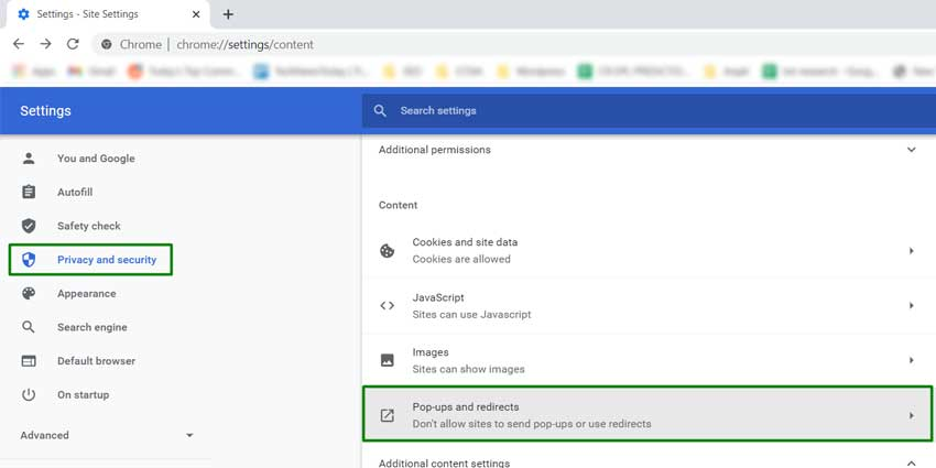 PoP Up and Redirect Settings Chrome