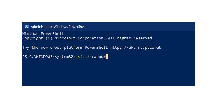 Powershell SFC scan Windows