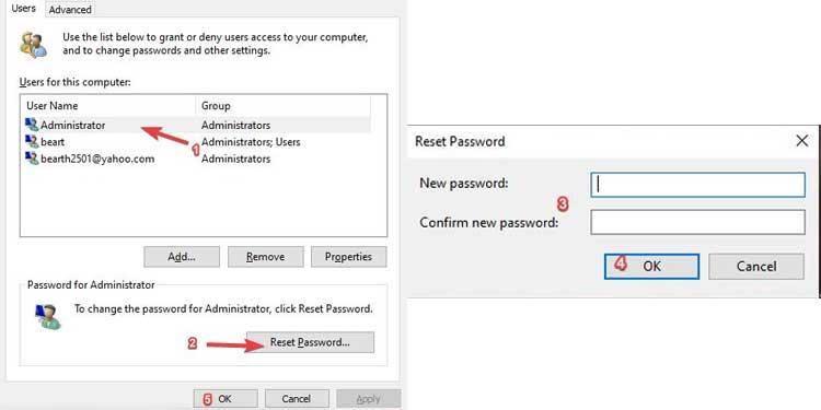 Reset Password Using User Accounts