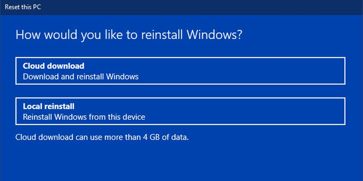 Reset This PC Windows Local Reinstall Cloud Download Option