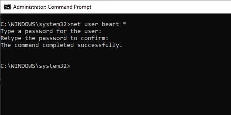 Reset Using Windows Net User