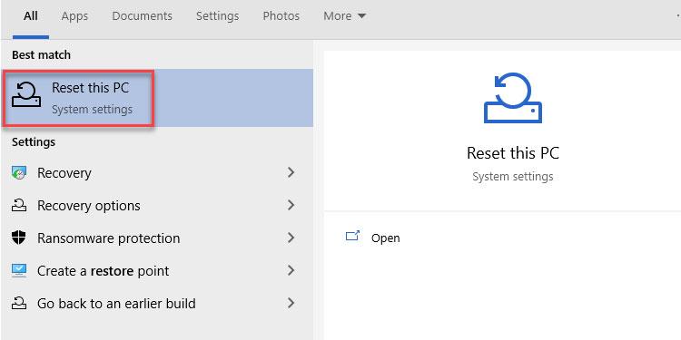 Reset this PC Windows