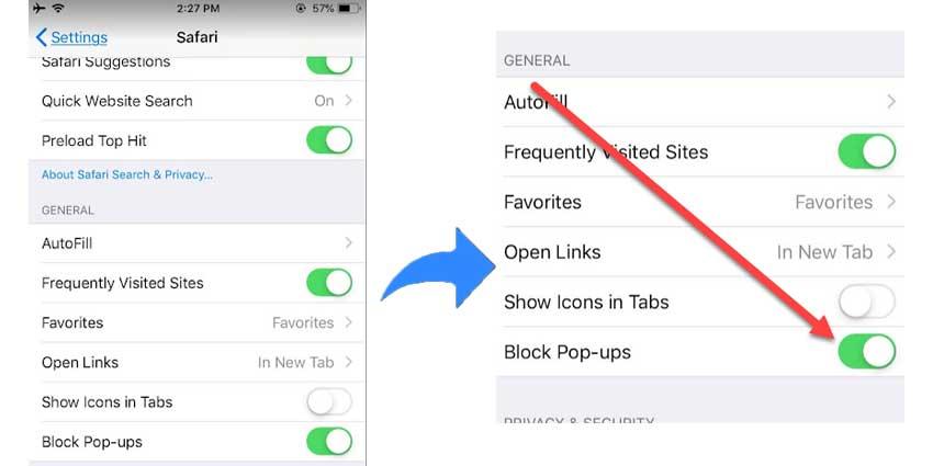 Safari iOS PoP Blocker Disable