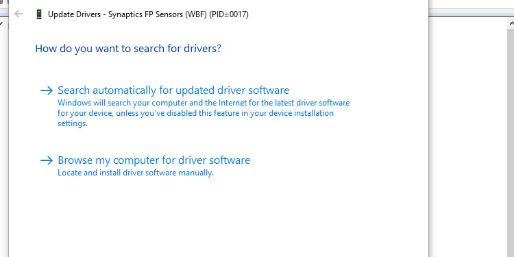 Search automatically for updated drivers software in Windows