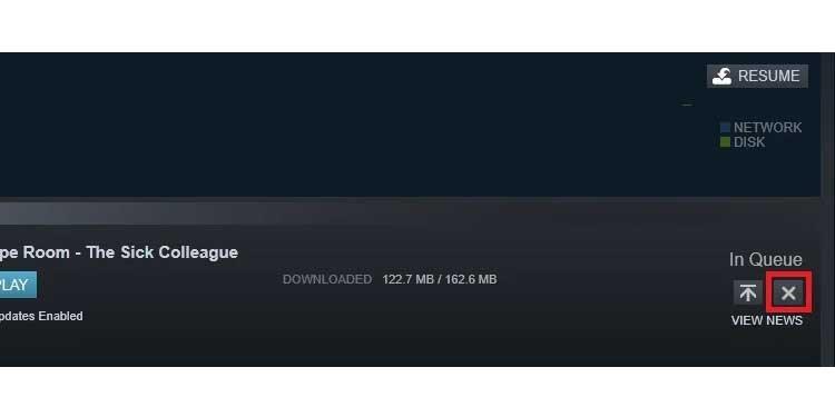 Steam Download Cross Cancel