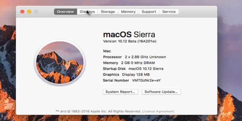 System Info MAC