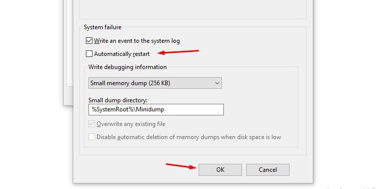 Uncheck automatically restart options