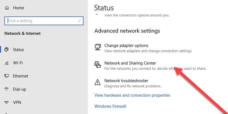 Windows 10 Network Status