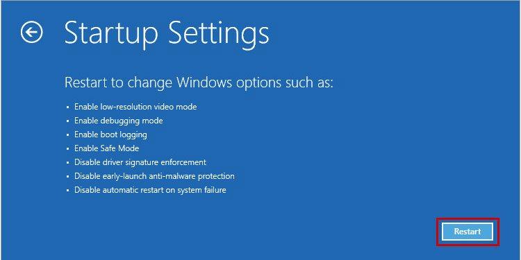 Windows 10 Startup Settings Restart PC