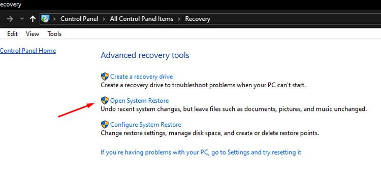 Windows Advanced Recovery Open Restore Point