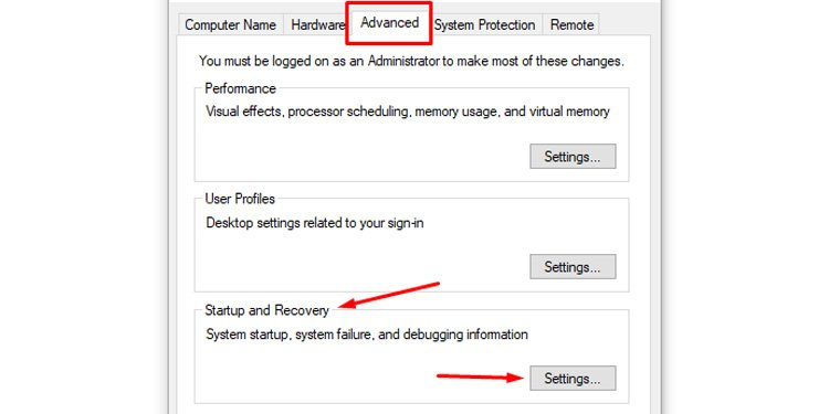 Windows Advanced Settings Startup and Recovery
