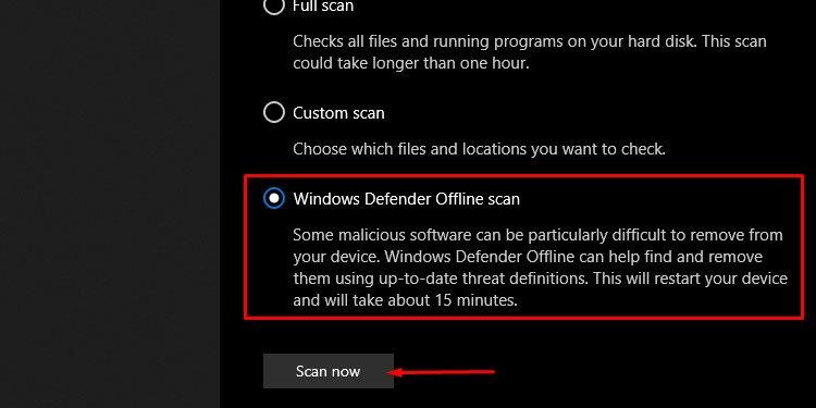 Windows Defender Offline Scan Now