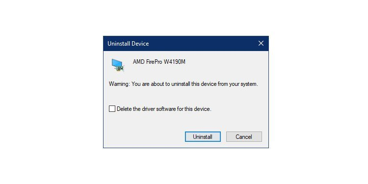 Windows Device Driver Uninstall Confirmation