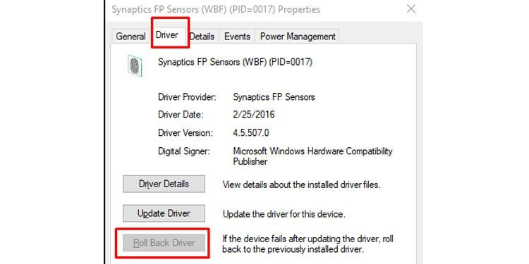 Windows Driver tab Rollback device driver