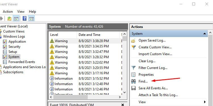 Windows Event View Actions Find
