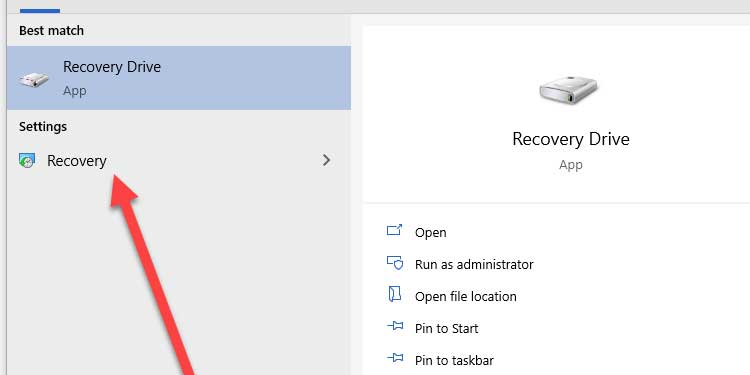 Windows Recovery Device Settings