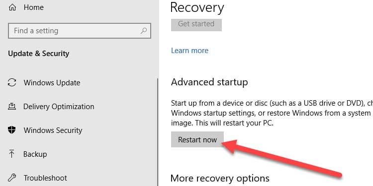 Windows Recovery Restart PC