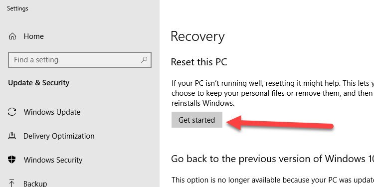 Windows Recovery Settings Get Started