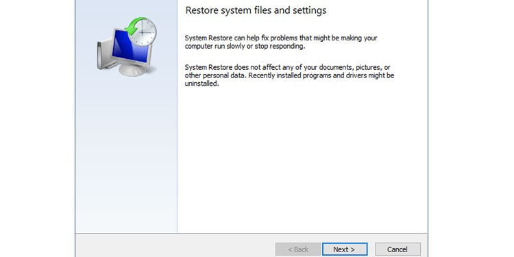 Windows Restore system files and setting