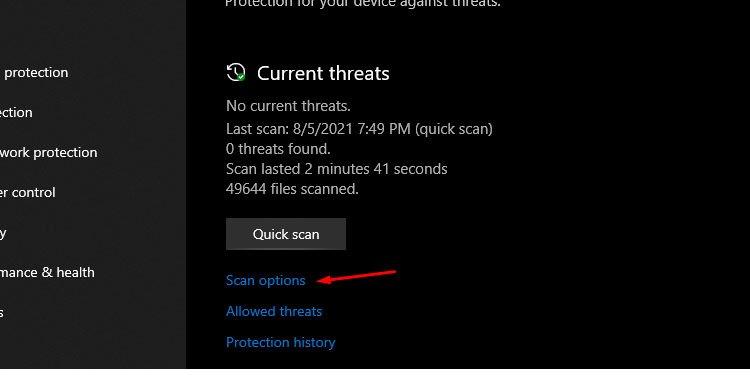 Windows Scan Options