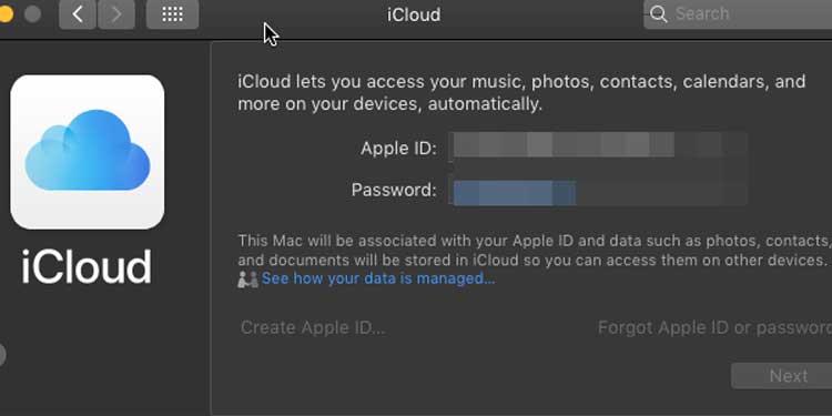 apple mac icloud id and password