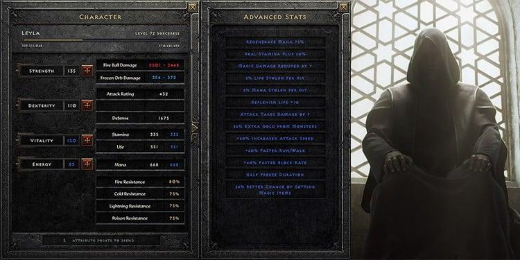Diablo II: Resurrected interface