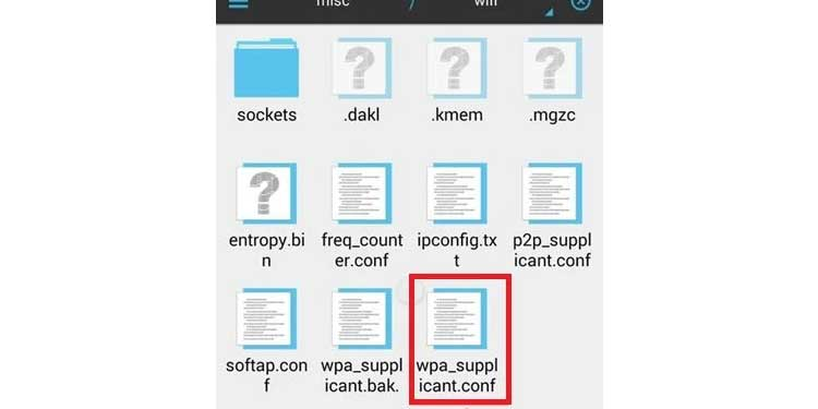 es file explorer wifi password file