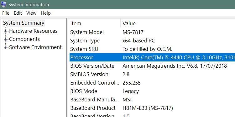 processor Info