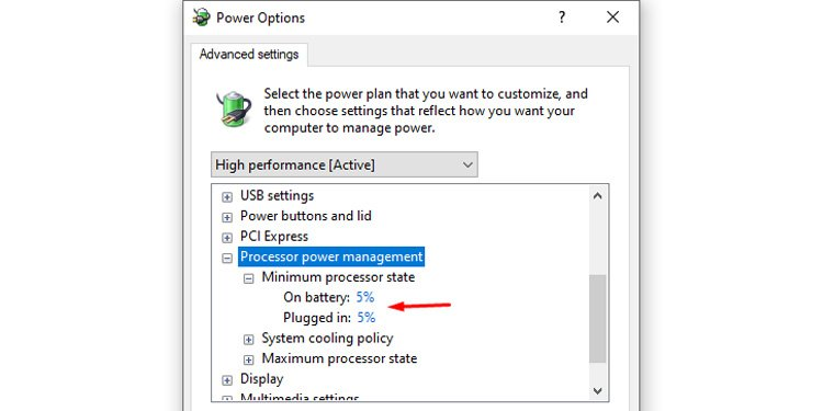 set process power management setting to 5 or 0