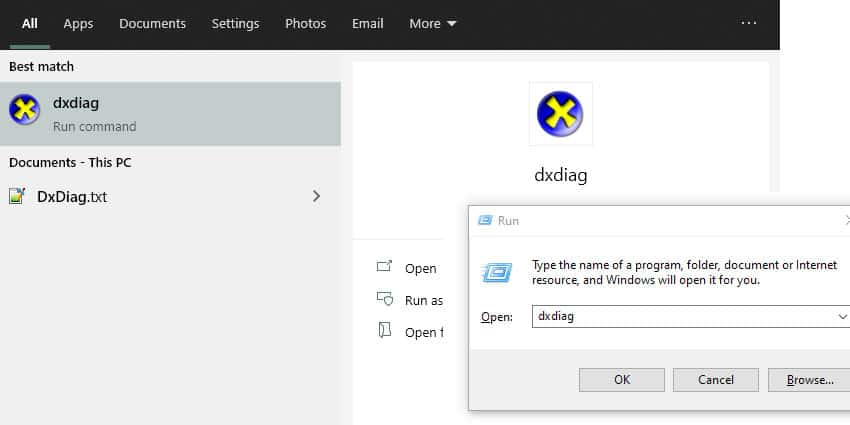 opening windows dxdiag