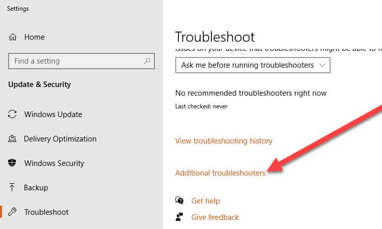 Additional Troubleshooters