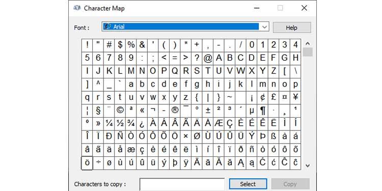 Character Map Keypad