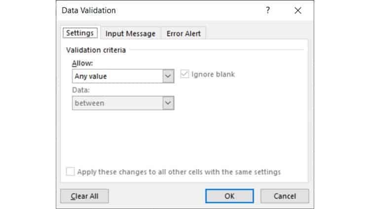 Data-Validation-dialog