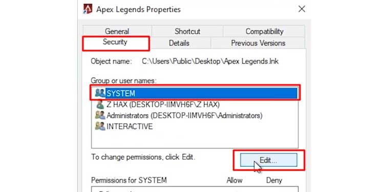 Edit System Permissions