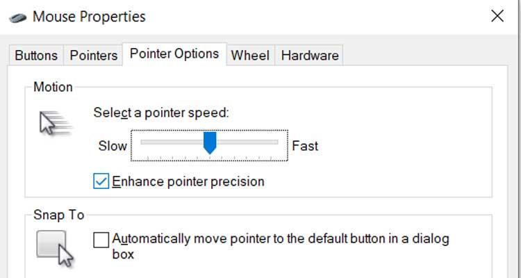 Enhance Pointer Precision Settings