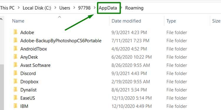 Folder inside Appdata