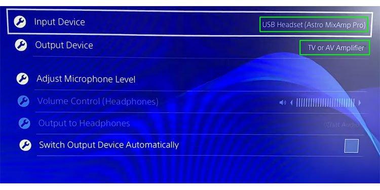 PS4 Audio Settings