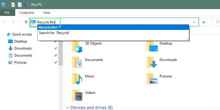 RecycleBin-addressbar