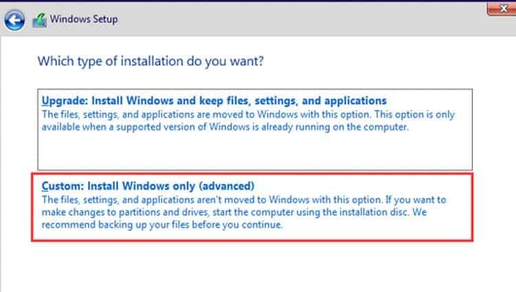 windows-setup-custom-install