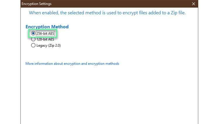 winzip-encryption-methods