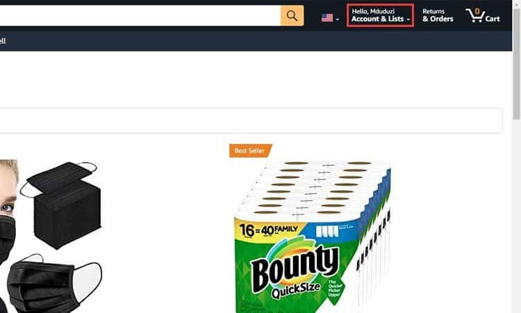 Account and Lists in Amazon