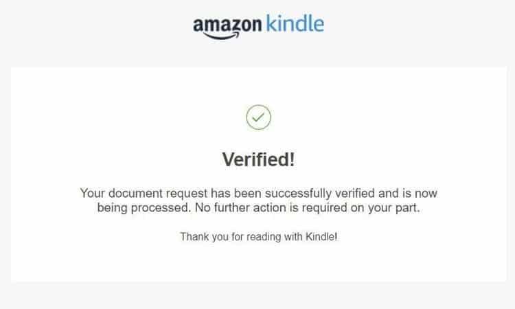 Amazon Kindle Verification Notification